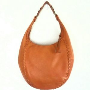 BANANA REPUBLIC ORANGE LEATHER HOBO BAG EUC!